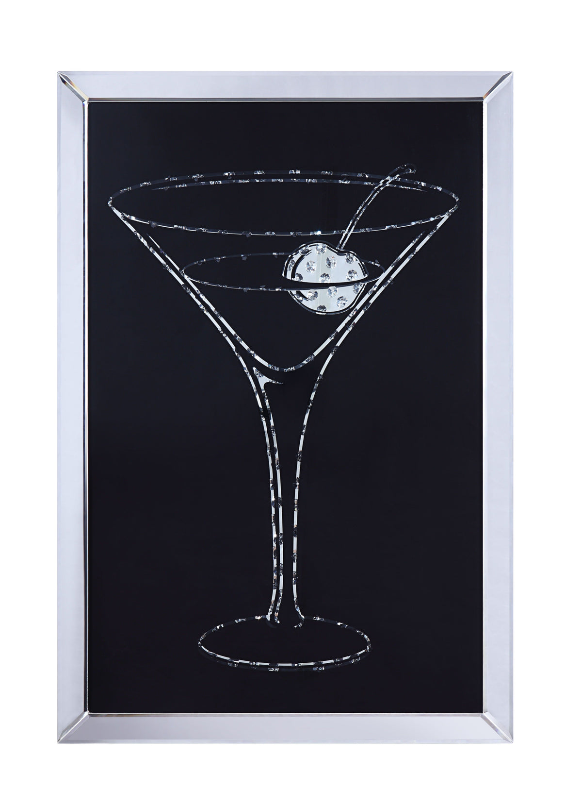Bm196002 Wood And Mirror Martini Glass Wall Art Clear And Black