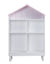 Hut Shape Wooden Bookcase with Five Spacious Shelves, White and Pink - BM196194