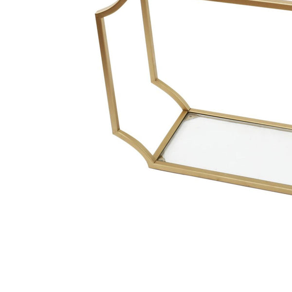 Metal Wall Shelf with Two Glass Shelves and Smooth Chamfered Corners, Gold and Clear - BM196303