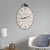 Distressed Oval Shape Wooden Wall Clock with Ring Hanger,  White and Black - BM196306