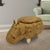 BM196604 Hippo Shape Wooden Storage Ottoman with Textured Fabric Upholstery, Yellow and Brown