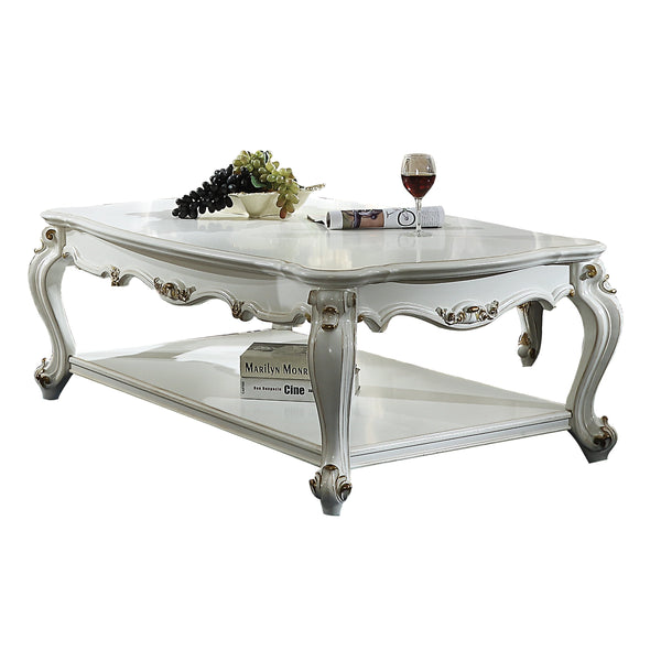Traditional Style Wooden Coffee Table with Polyresin Carvings and Bottom Shelf, White BM196693
