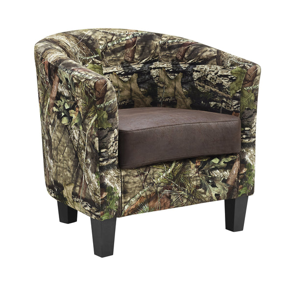 Camouflage Patterned Fabric Accent Chair with Wooden Legs, Multicolor - BM197288