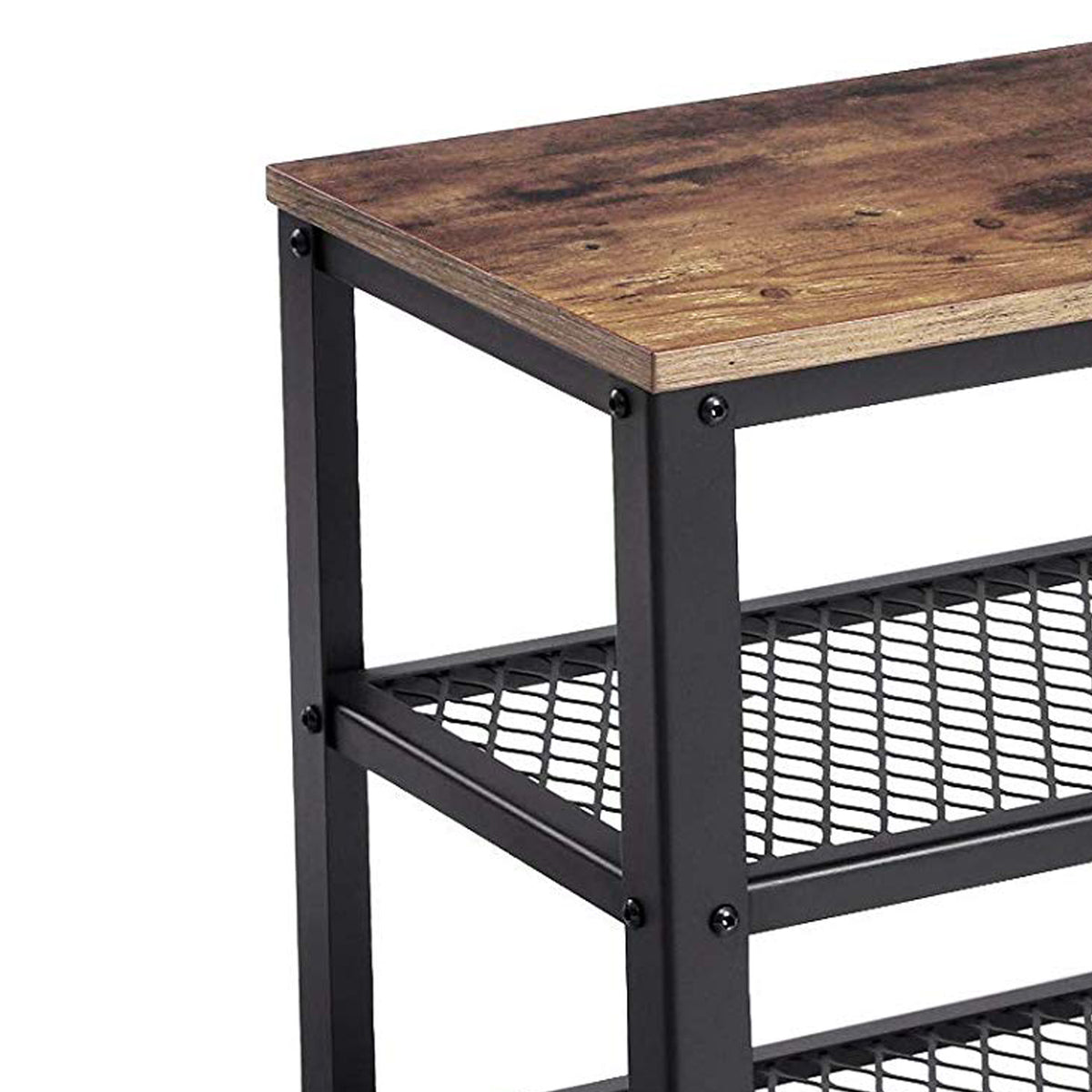 Picture of: Vintage Wood And Metal Shoe Rack With 2 Mesh Shelves Black And Brown Bm197488 Benzara Com