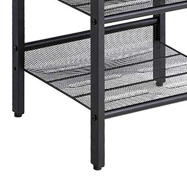 Wooden Side Table with Metal Mesh Shelves, Set of 2, Black and Brown - BM197492