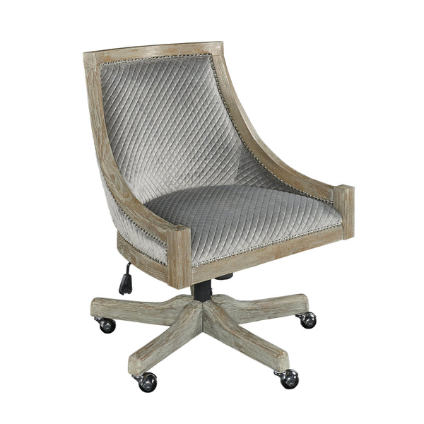 Wooden Office Chair with Sloped Armrest and Casters, Gray and Brown - BM200065