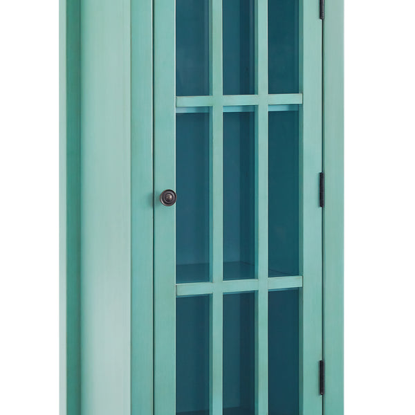 Wooden Glass Door Cabinet with 3 Compartments and Bottom Drawer, Blue - BM200068