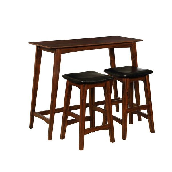 Wooden Counter Table Set with Leatherette Seat,Brown and Black - BM200072