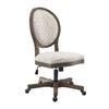 Wooden Armless Office Chair with Script Upholstery, Brown and Beige - BM200076