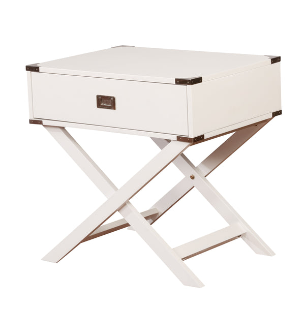 Wooden Accent Table with Storage Drawer and X Shaped Base, White - BM200077