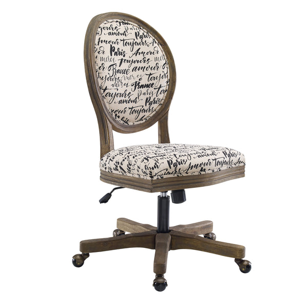 Script Print Upholstered Wooden Armless Office Chair, Brown and Beige - BM200086