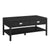 2 Drawer Wooden Coffee Table with Open Shelf, Black - BM200103