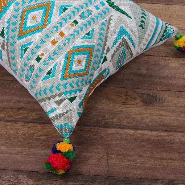Cotton Hand Woven Dhurri Pillow with Geometric Details, Multicolor - BM200559