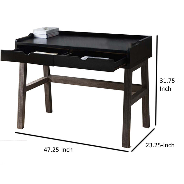Dual Toned Wooden Desk with Two Sleek Drawers and Slightly Splayed Legs, Gray and Black - BM200668