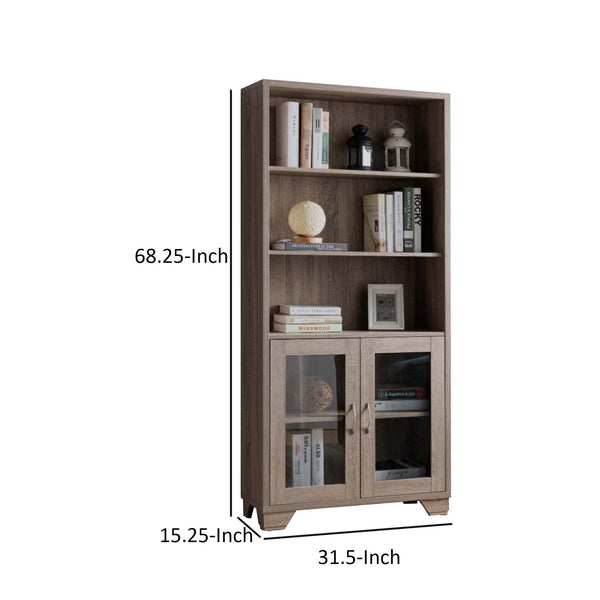 Wooden Book Cabinet with Three Display Shelves and Two Glass Doors, Taupe Brown - BM200680