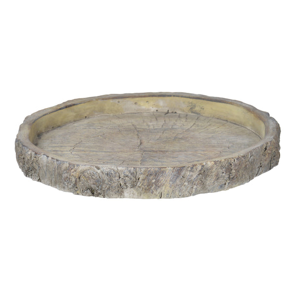 Decorative Round Shape Cemented Log Plate, Gray - BM200904