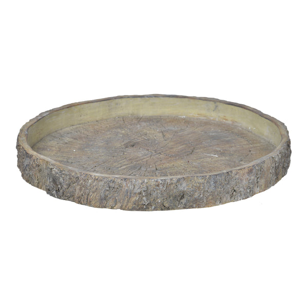 Decorative Cemented Log Plate with Distressed Details, Gray - BM200905