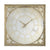 Square Oversized Wooden Wall Clock with Glass Inlay, Gold and Clear - BM200923
