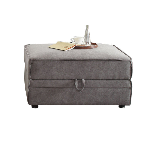 Velvet Upholstered Wooden Ottoman with Lift Off Storage and Block Legs, Gray - BM201815