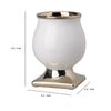 Bellied Shape Ceramic Vase with Pedestal Base, Large, White and Gold - BM202238
