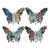 Butterfly Wall Decor with Exotic Animal Print, Set of 4, Multicolor - BM202256