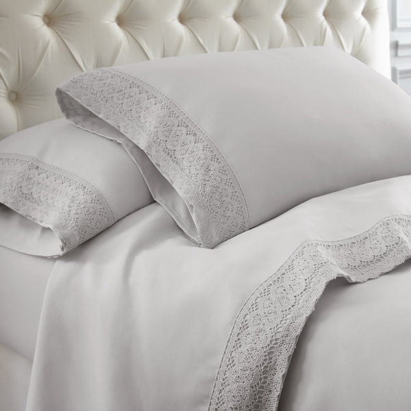 Udine 4 Piece California King Size Sheet Set with Crochet Lace , Gray - BM202454
