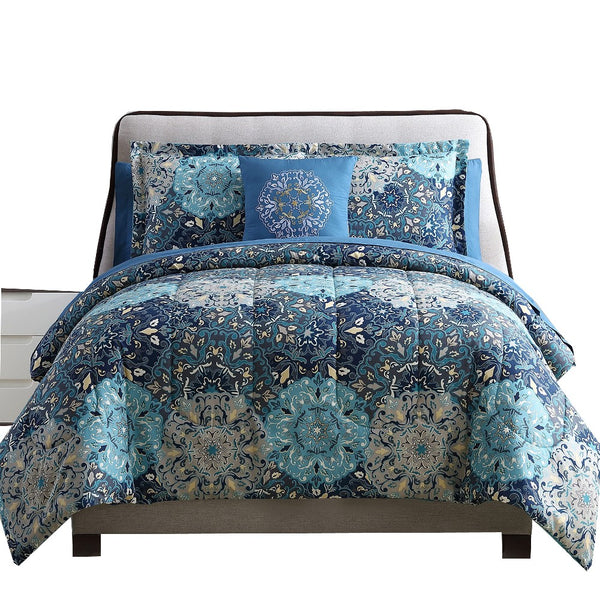 Caen 8 Piece Printed Full Size Reversible Comforter Set , Blue - BM202724
