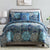 Caen 8 Piece California King Printed Reversible Bed Set , Blue - BM202759