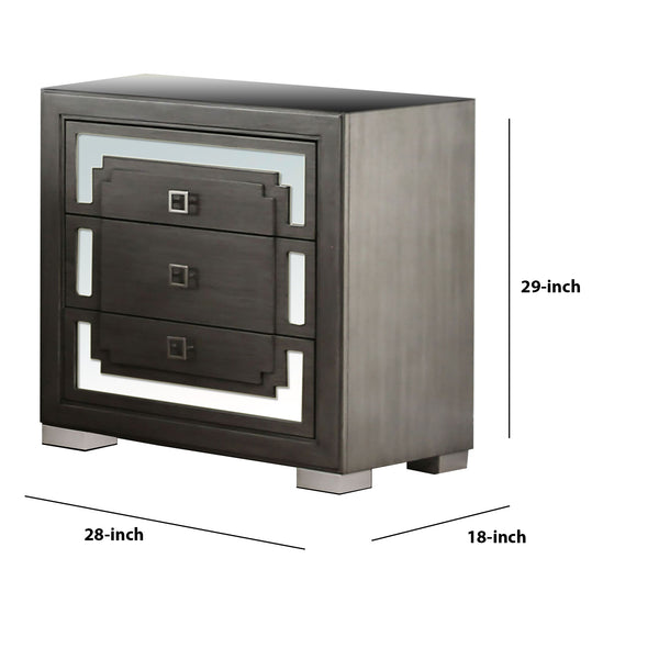 Wood and Mirror Nightstand with 3 Drawer Storage, Gray and Clear - BM203143
