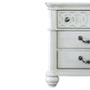 Wooden 3 Drawers Nightstand with Turned Legs and Metal Pulls, White - BM203255