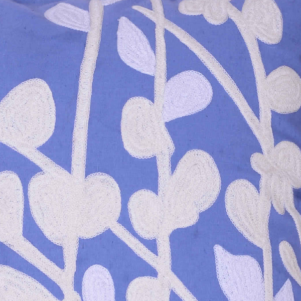 Cotton Pillow with Stem and Leaf Embroidery,Set of 2,Blue and White - BM203476
