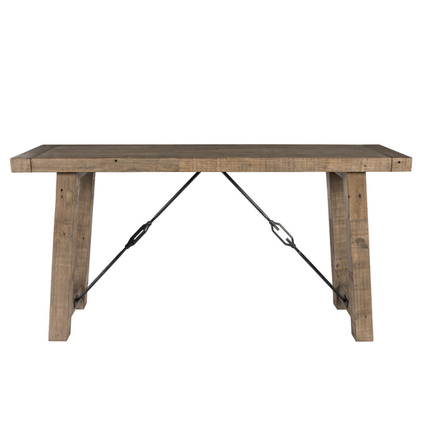 Handcrafted Reclaimed Wood Console Table with Grains, Weathered Gray - BM203611