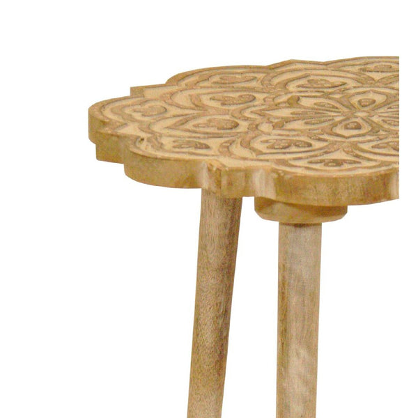 Wooden 3 Legged Accent Table with Intricate Flower Carving, Brown - BM203694