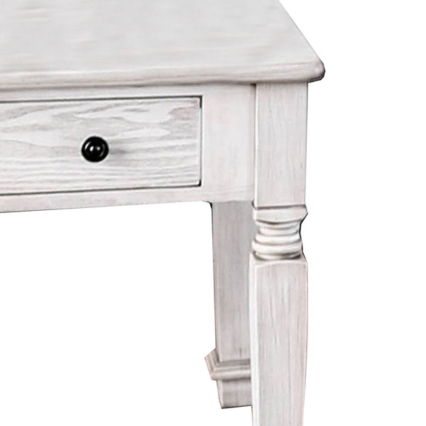 Transitional Style Wooden End Table with 1 Drawer Storage, White - BM203937