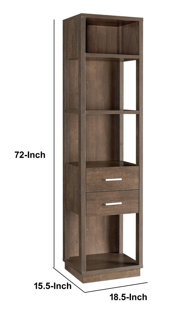 Transitional Wooden Pier with 4 Open Shelves and 2 Drawers in Brown - BM204138