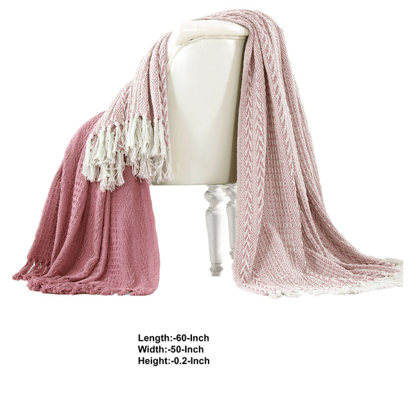 Latina Cotton Throw with Decorative Fringe The Urban Port, Set of 2, Pink - BM204220