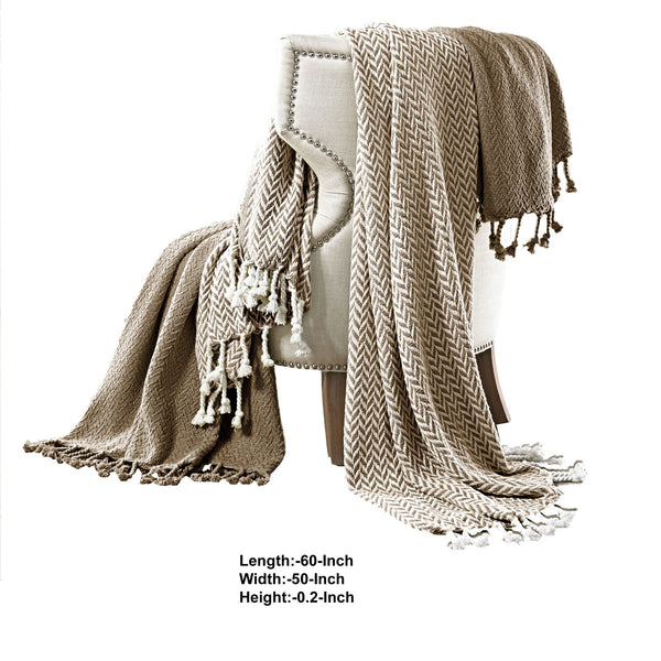 Calabria Herringbone Cotton Throw The Urban Port, Set of 2, Brown and White - BM204236