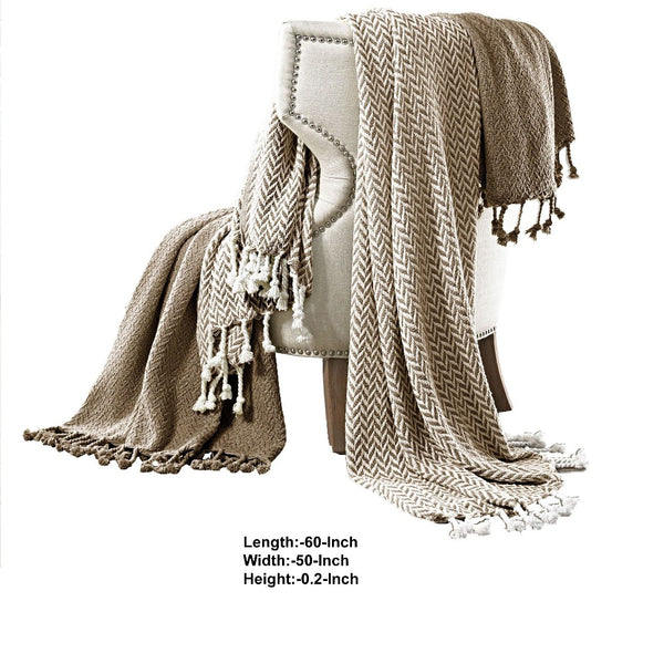 Montgeron Herringbone Cotton Throw The Urban Port, Set of 2, Brown and White - BM204246