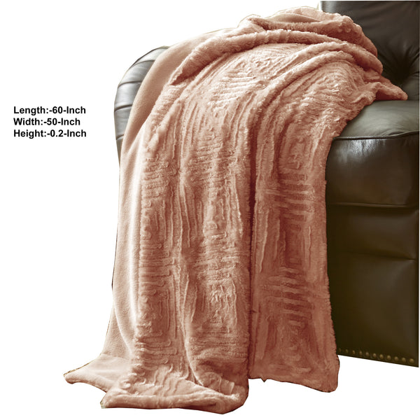 Treviso Faux Fur Throw with Fret Pattern The Urban Port, Pink - BM204289