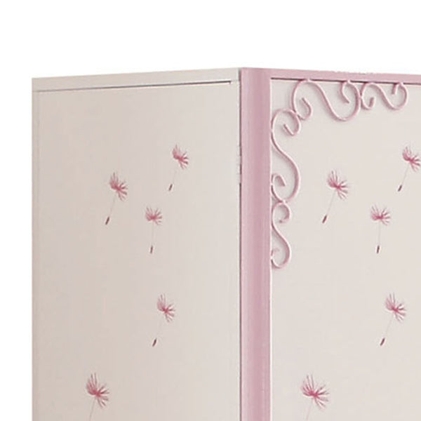 Metal Armoire with Butterfly Handle and Dandelions, White and Purple - BM204309