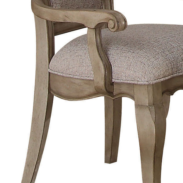 Wooden Arm Chairs with Button Tufting, Set of Two, Gray and Brown - BM204359