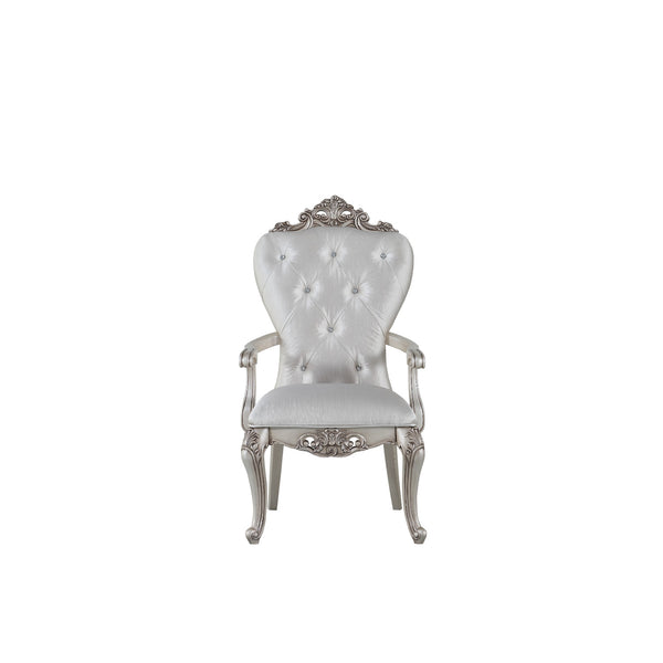 Wooden Arm Chairs with Button Tufting, Set of Two, Cream and White - BM204362