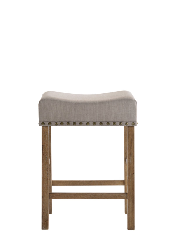 Fabric Upholstered Wooden Counter Height Stool,Set of 2,Brown and Gray - BM204368