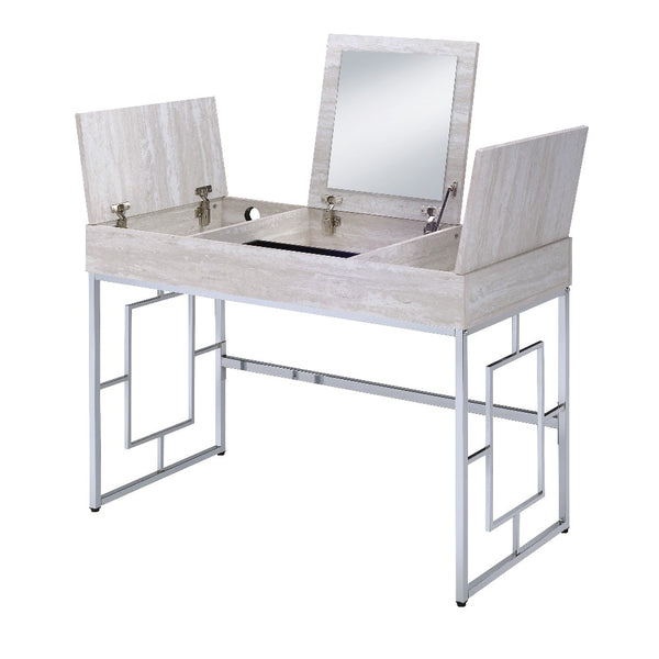 Wood and Metal Vanity Desk with Lift Top Compartments,Silver and Brown - BM204372