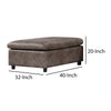 Ottoman with Plastic Legs and Fabric Upholstery, Brown and Black - BM204416