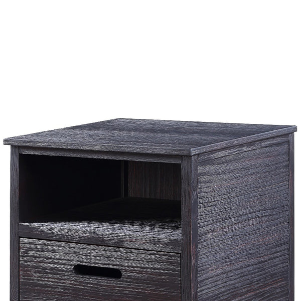 Rugged Textured Wooden End Table with Drop Down Storage, Black - BM204473