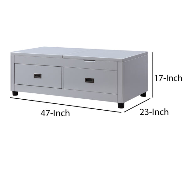 Coffee Table with Top Lift and Reversible Lid Tray, Light Gray - BM204480