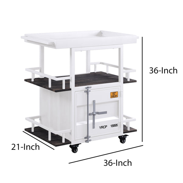 Industrial Style Metal Serving Cart with Casters, White - BM204485