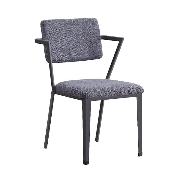 Fabric Upholstered Metal Dining Chair, Set of 2, Gray and Black - BM204487