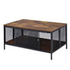 Metal Coffee Table with 1 Bottom Shelf and Mesh Design, Brown and Gray - BM204492